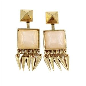 Square pink crystal golden earrings